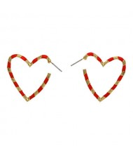 Heart Shape Concise Fashion Earrings - Red