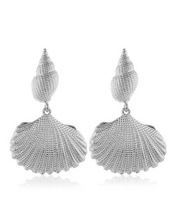Conch and Seashell Combo Design High Fashion Women Statement Earrings - Silver