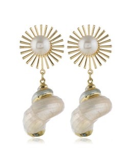 Sunflower and Conch Combo Fashion Women Costume Earrings