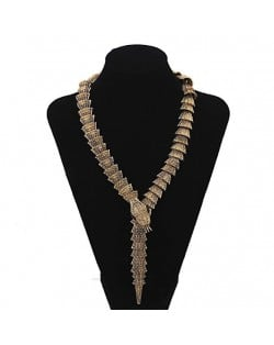 Vintage Golden Snake Fashion Statement Necklace