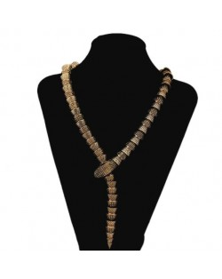Unique Snake Design Alloy Fashion Costume Necklace - Golden