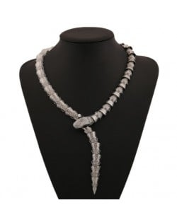 Unique Snake Design Alloy Fashion Costume Necklace - Silver