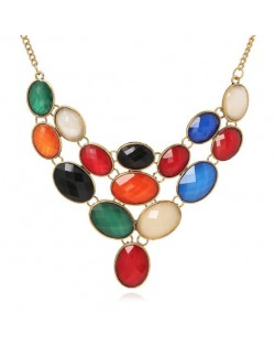 Multicolor Gems Combo High Fashion Women Costume Necklace