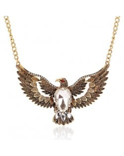 Vintage Eagle Pendant Alloy High Fashion Necklace - Golden