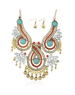 Beads and Rhinestone Embellished Bohemian Fashion Bold Necklace and Earrings Set
