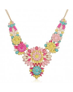 Resin Flowers Pinky Fashion Women Short Costume Necklace