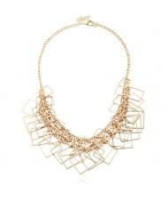 Squares Pendant Chain Fashion Women Statement Alloy Necklace - Golden