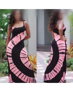 Summer High Fashion Abstract Floral Printing Shoulder-straps Women Dress - Pink