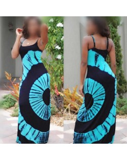 Summer High Fashion Abstract Floral Printing Shoulder-straps Women Dress - Light Blue