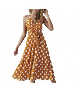 Polka Dot Shoulder-straps High Fashion Women Dress - Yellow