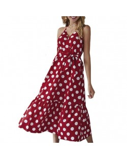 Polka Dot Shoulder-straps High Fashion Women Dress - Red