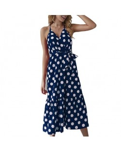 Polka Dot Shoulder-straps High Fashion Women Dress - Dark Blue