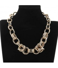 Golden Chain Chunky Bold Fashion Alloy Costume Necklace