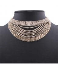 Rhinestone Multi-layer High Fashion Choker Necklace - Golden