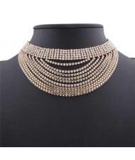 Rhinestone Multi-layer High Fashion Choker Necklace - Golden