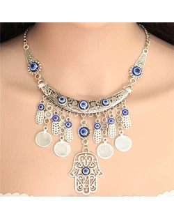 Eye Balls Decorated Magic Hand and Coins Pendants Design Women Fashion Necklace