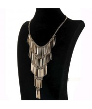 Multi-layer Alloy Sticks Tassel Fashion Chunky Style Women Costume Necklace