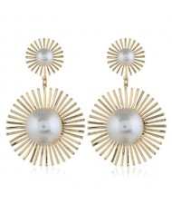 Pearl Inlaid Sunflower Design Women Costume Statement Earrings - Golden