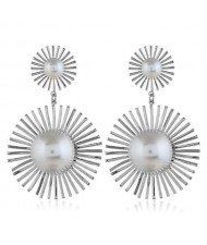 Pearl Inlaid Sunflower Design Women Costume Statement Earrings - Silver