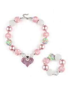 Heart Pendant Pinky Fashion Baby Girl Necklace and Bracelet Jewelry Set