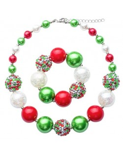 Christmas Fashion Baby Necklace and Bracelet Jewelry Set