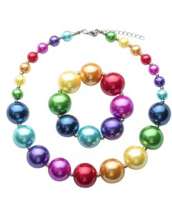 Multicolor Acrylic Beads Kids Necklace and Bracelet Jewelry Set