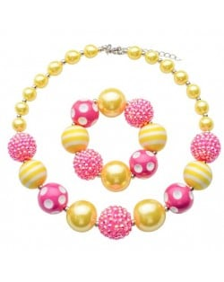 Pink and Yellow Acrylic Beads Combo Design Baby Necklace and Bracelet Jewelry Set