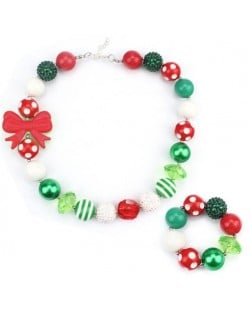 Bowknot Decorated Christmas Fashion Kids/ Baby Girl Necklace and Bracelet Jewelry Set - Red