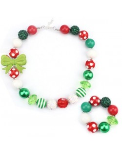 Bowknot Decorated Christmas Fashion Kids/ Baby Girl Necklace and Bracelet Jewelry Set - Green