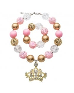 Delicate Crown Pendant Cute Beads Fashion Baby Girl Necklace and Bracelet Jewelry Set