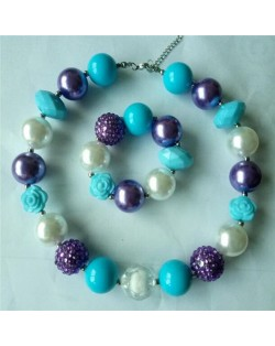 Flower and Assorted Blue Beads Children Fashion Necklace and Bracelet Jewelry Set