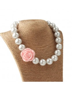 Pink Flower Decorated Princess Style Pearl Fashion Baby Girl Necklace