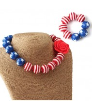 U.S.A. Theme Toddler Necklace and Bracelet Jewelry Set