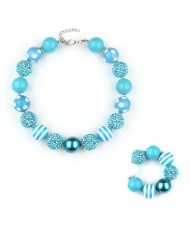 Blue Beads Fashion Baby Necklace and Bracelet Jewelry Set