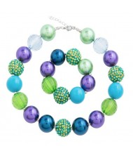 Green Blue and Purple Beads Combo Baby Necklace and Bracelet Jewelry Set