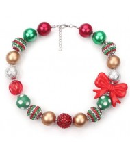 Red Bowknot Decorated Christmas Fashion Toddler Necklace and Bracelet Jewelry Set