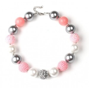 Mingled Beads Pinky Fashion Toddler Necklace and Bracelet Jewelry Set