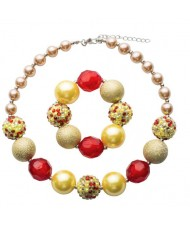 Golden and Red Beads Combo Children Fashion Necklace and Bracelet Jewelry Set