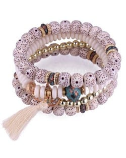 Vintage Spots Beads Triple Layers with Cotton Thread Tassel Women Fashion Bracelet - White