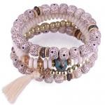 Vintage Spots Beads Triple Layers with Cotton Thread Tassel Women Fashion Bracelet - White