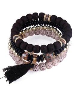 Vintage Spots Beads Triple Layers with Cotton Thread Tassel Women Fashion Bracelet - Black