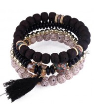Vintage Spots Beads Triple Layers with Cotton Thread Tassel Women Fashion Bracelet - Black