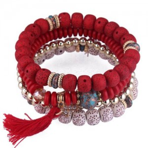 Vintage Spots Beads Triple Layers with Cotton Thread Tassel Women Fashion Bracelet - Red