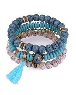 Vintage Spots Beads Triple Layers with Cotton Thread Tassel Women Fashion Bracelet - Blue