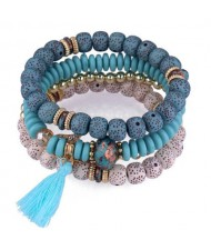 Vintage Spots Beads Triple Layers with Cotton Thread Tassel Women Fashion Bracelet - Blue