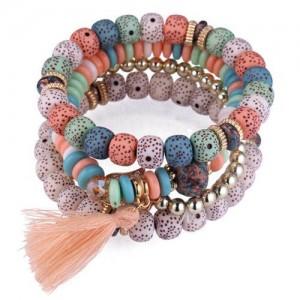 Vintage Spots Beads Triple Layers with Cotton Thread Tassel Women Fashion Bracelet - Multicolor