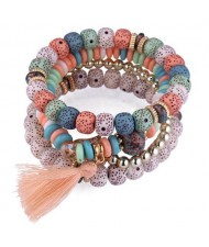 Vintage Spots Beads Triple Layers with Cotton Thread Tassel Women Fashion Bracelet - Multicolor