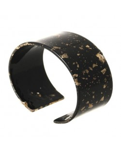 Abstract Pattern Open-end Design Resin Women Bangle - Black
