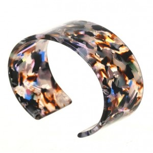 Abstract Pattern Open-end Design Resin Women Bangle - Purplish Colorful