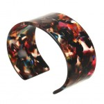 Abstract Pattern Open-end Design Resin Women Bangle - Reddish Colorful